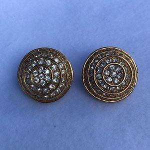 Vintage Roman Rhinestone Clip On Earrings   J3